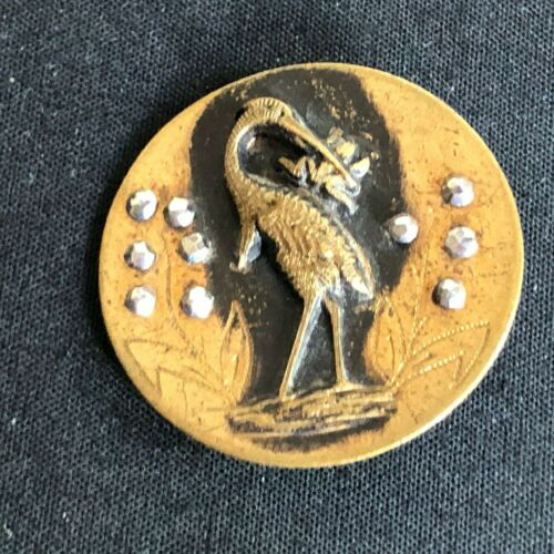 Antique  Button---FABLE---FROG & THE STORK---CUT STEEL TRIM, 1 3/16""