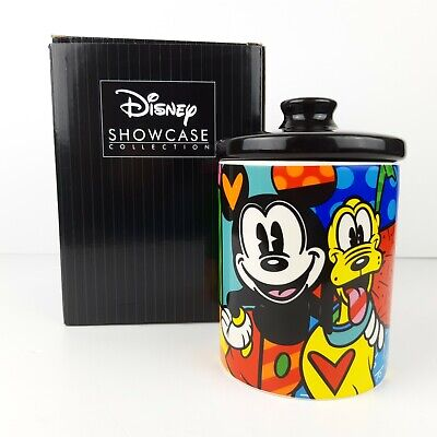 """Disney Britto Stoneware Cookie Jar Dog Treats Canister 6"""" Mickey Mouse & Pluto"""