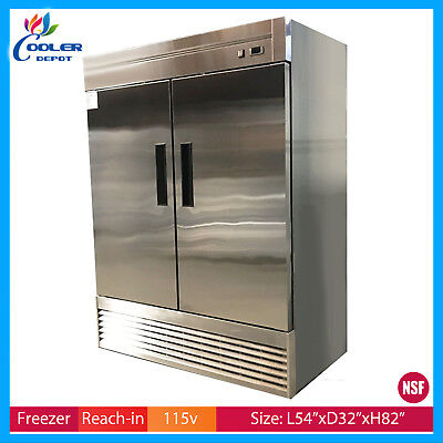 Two Door Freezer Commercial Reach In Stainless Steel Nsf New Cooler Depot