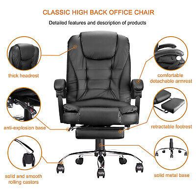 Black Leather High Back Office Chair Executive Task Ergonomic Computer Desk Usa