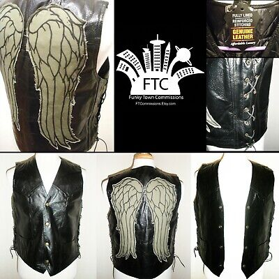 The Walking Dead Daryl Dixon Inspired Angel Wings Leather Vest TWD (NEW!)