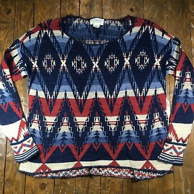Auth Denim & Supply Ralph Lauren Southwest Aztec Pattern Scoop Neck Sweater Sz M