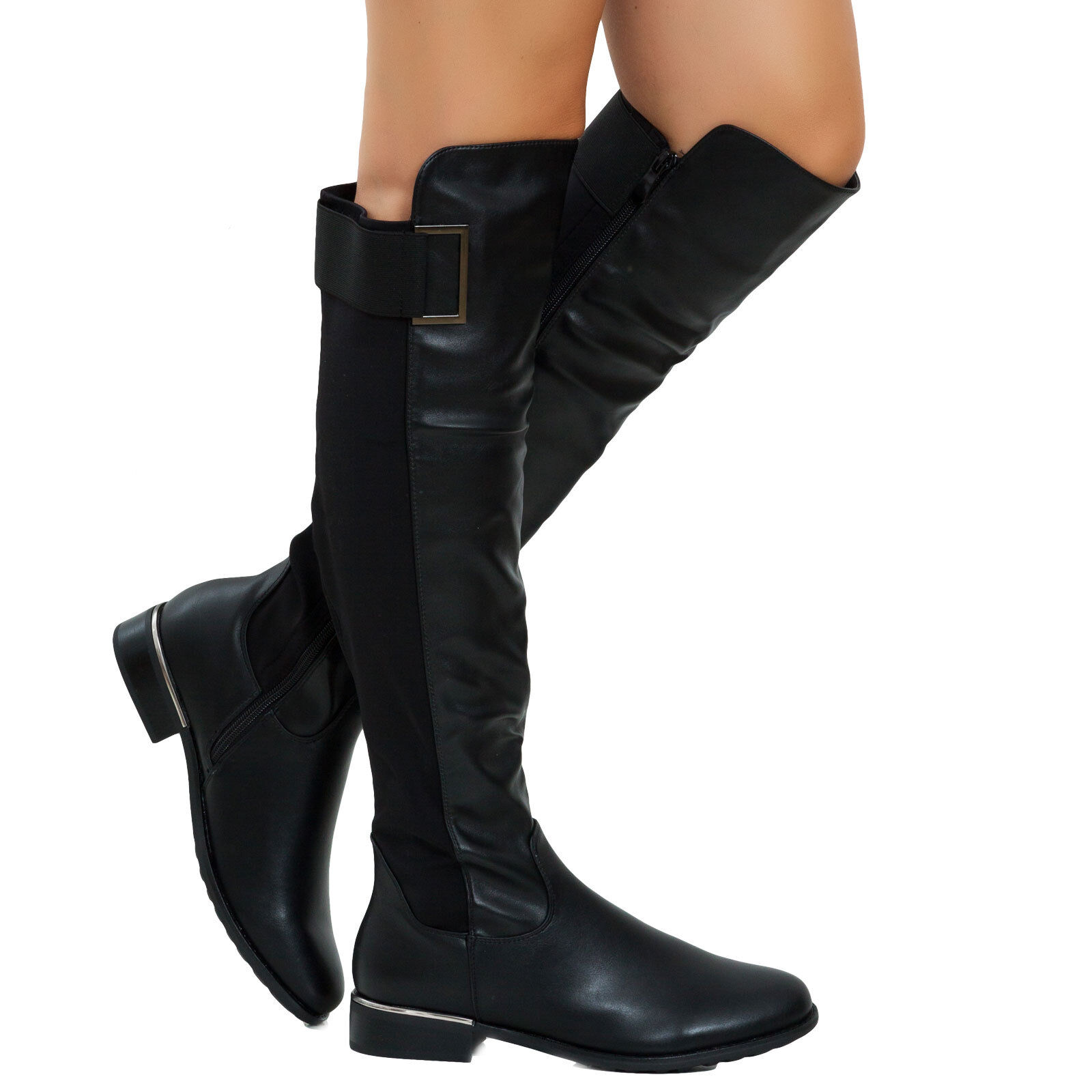 Stivali donna tacco basso elastico scarpe casual pelle