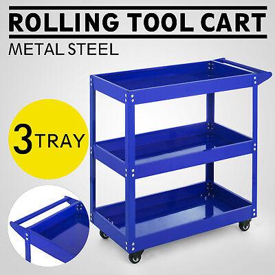 3 Tier Rolling Tool Cart w/Handle Utility Service Cart Garage Trolley Heavy Duty