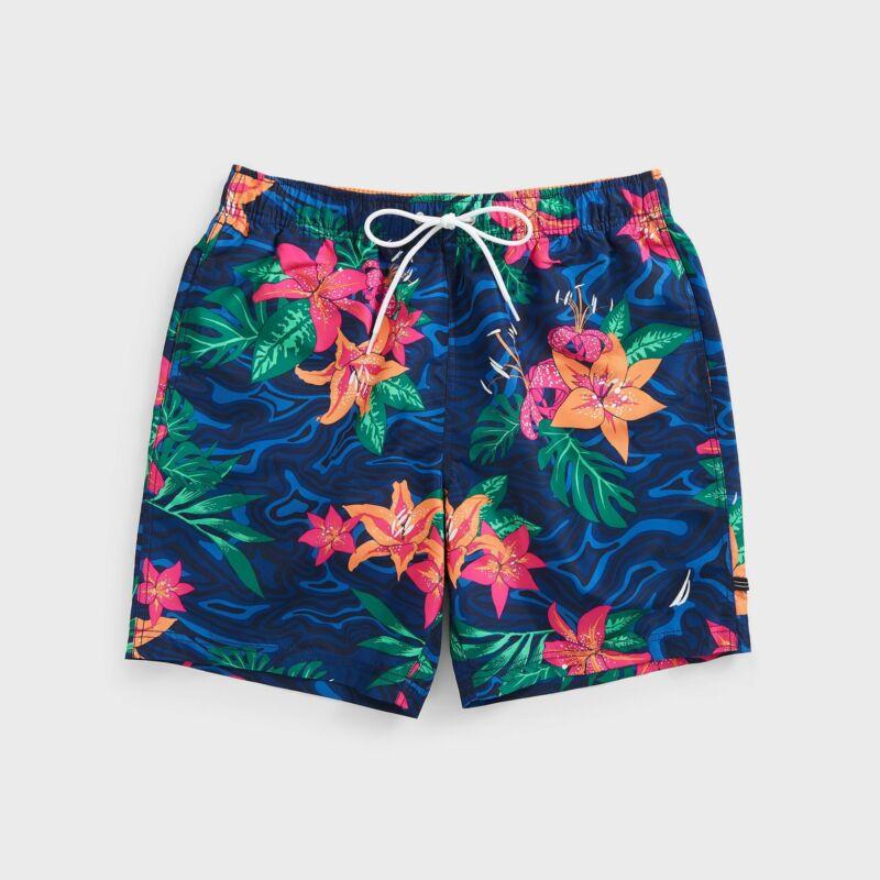 "Nautica Mens 8"" Floral Camouflage Print Swim Shorts"