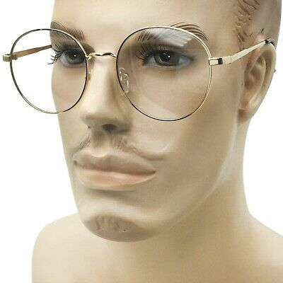 Large Oversized Mens Womens Clear Lens Glasses Vintage Style Round Circle (Oversized Circle Glasses)