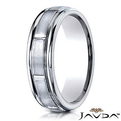 Carved Design Center Cut Satin Finished Ring 6mm Men's Women's Wedding Band (Center Cut Design Band)