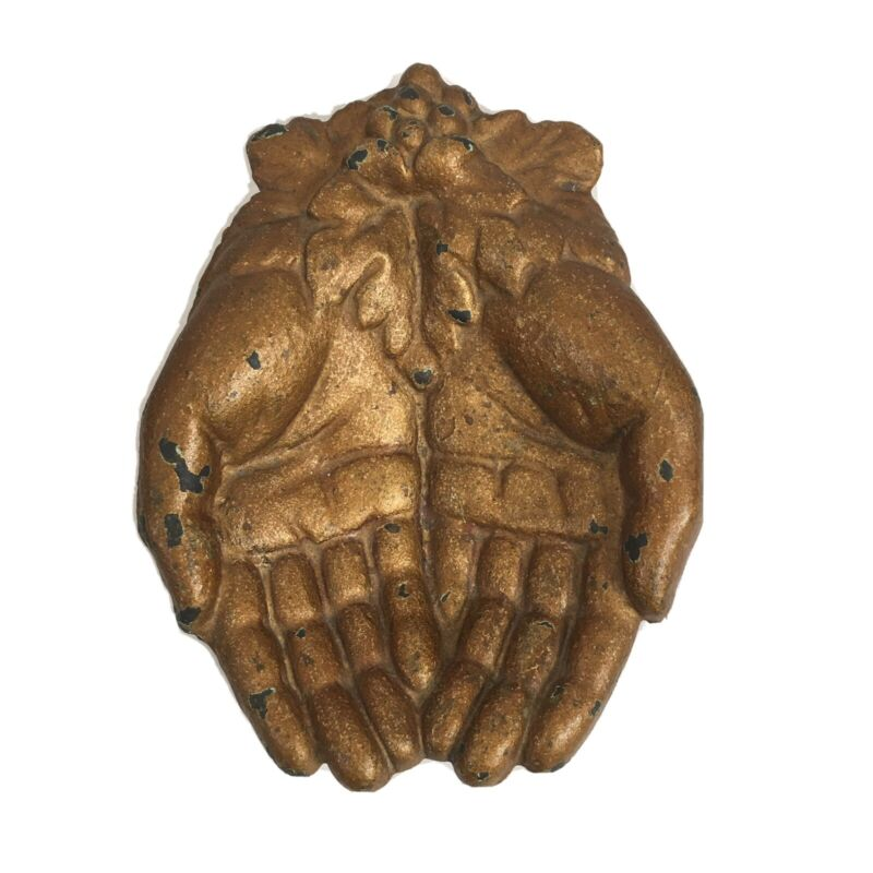 Vintage Open Hands Trinket Dish Key Soap Holder Metal Floral Victorian Romantic