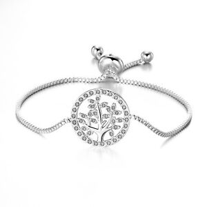 Silver Tree of Life Bracelet with Crystals from Swarovski®
