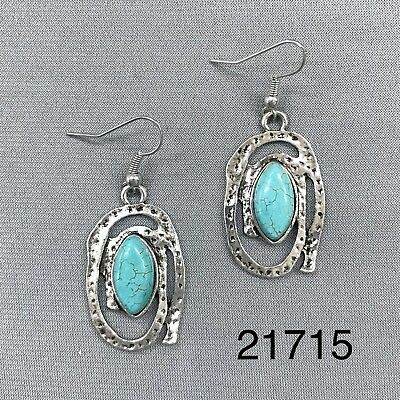 Oval Shape Hammered Silver Tone Finish Turquoise Stone Charm Dangle Earrings - Hammered Silver Charm