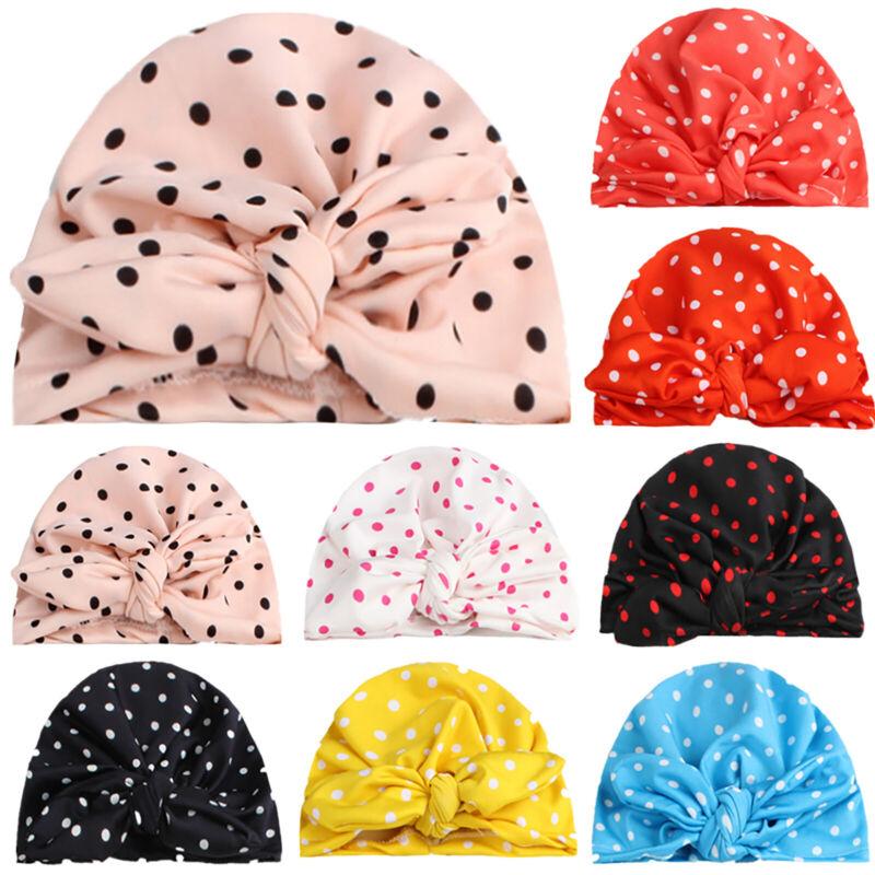 Kleinkind Baby Mädchen Turban Polka Dot Mütze Kappe Hüte Stirnband Kopf Wickeln