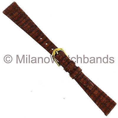Basketweave Band - 14mm Speidel Genuine Leather Honey Embossed Basketweave Look Watch Band Short