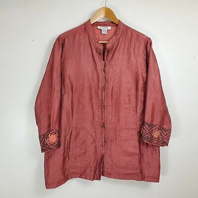Citron Santa Monica Size 1X Crinkle Jacket Shirt Pockets Rust Linen Blend 3/4 Sl