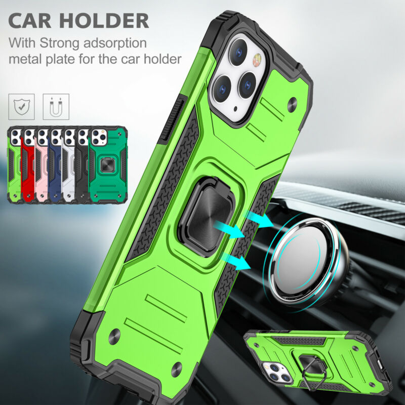 For iPhone 12 11 Pro Max XS SE Case Shockproof Heavy Duty Armor Ring Stand Cover