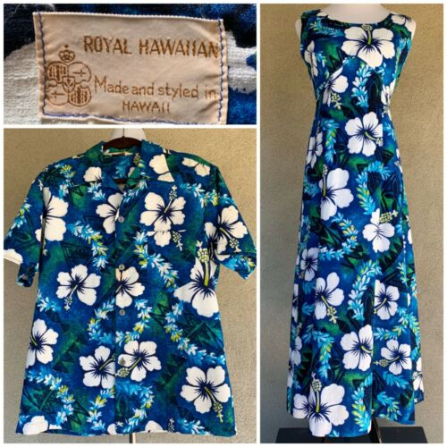 🌺 Vintage Royal Hawaiian Honeymoon Set Barkcloth Dress 10 & Men's Shirt L 🌺