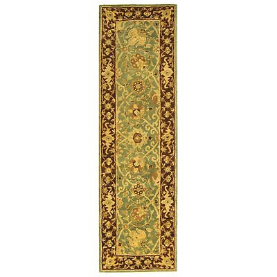 - Antiquity Hand-Tufted GREEN/BROWN Wool Rug 2' 3 x 10' Runner
