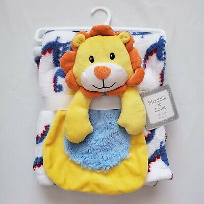 Baby Boys Plush Blanket & Toy, Shower Gift, Blue, 30x36 Very Soft Dino, Lion -