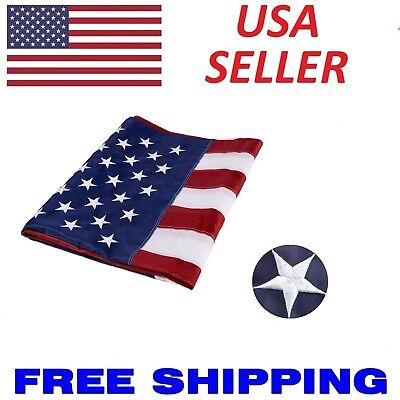 5x8 ft US American Flag Heavy Duty Embroidered Stars Sewn Stripes Grommets Nylon Cotton Embroidered American Flag