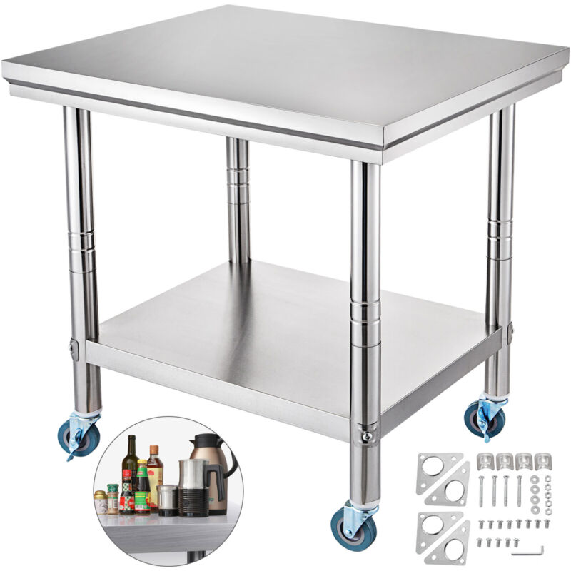 """36"""" x 24"""" Stainless Steel Commercial Kitchen Prep & Work Table w/ 4 Casters"""