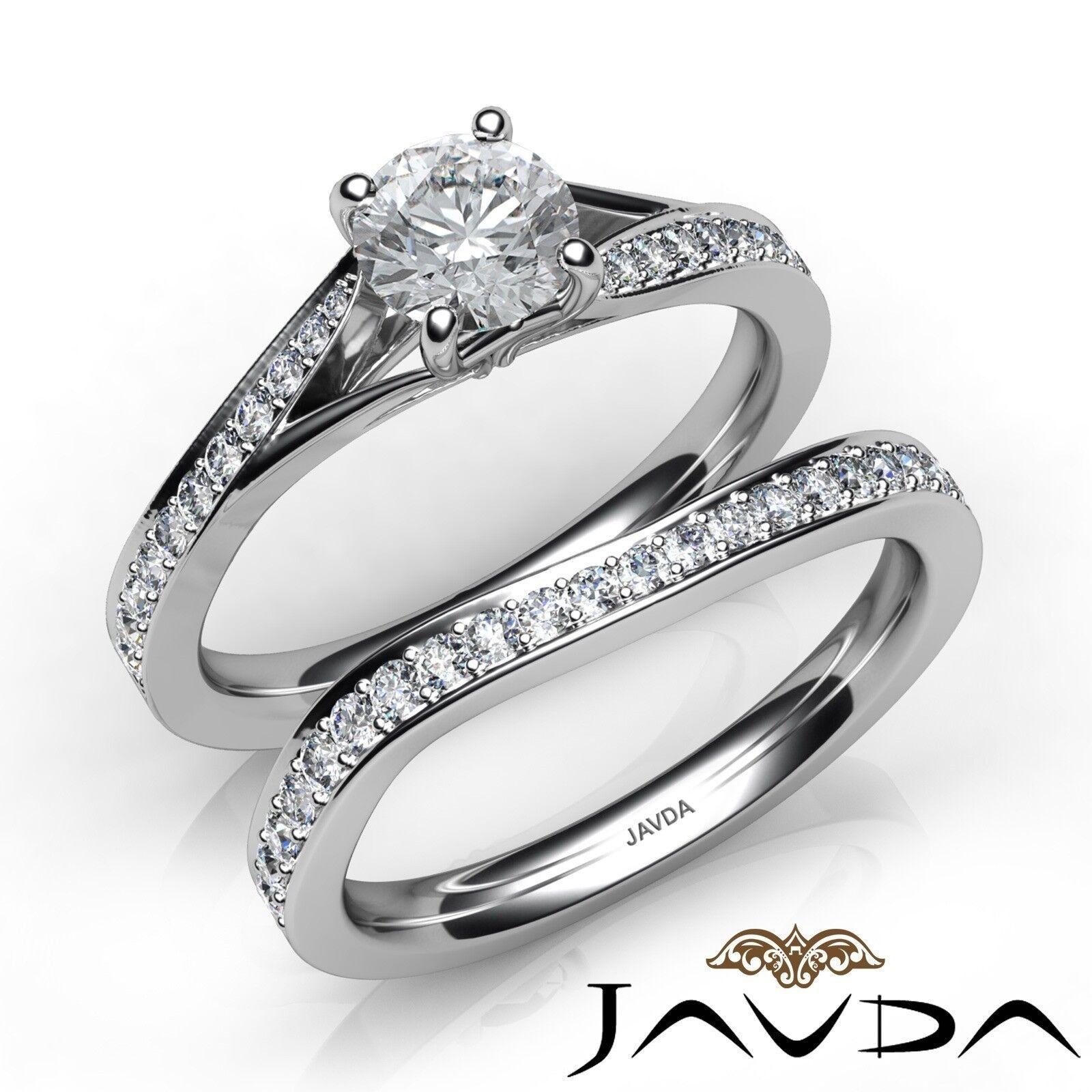 1.35ctw Sidestone Bridal Set Round Diamond Engagement Ring GIA E-VVS2 White Gold
