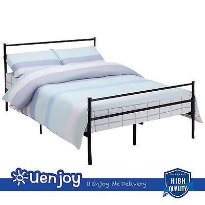 Queen Size Metal Bed Frame Platform Headboards Slats Bedroom Furniture  Black