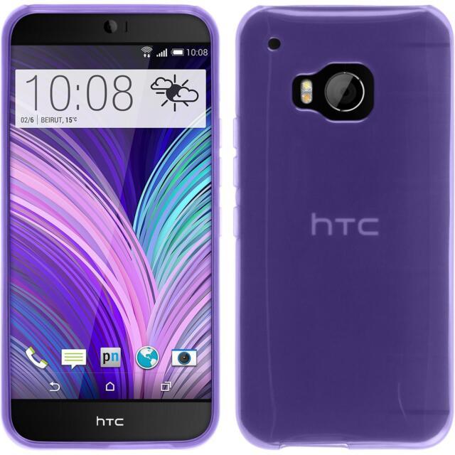 Silicone Case HTC One M9 - transparent purple + protective foils