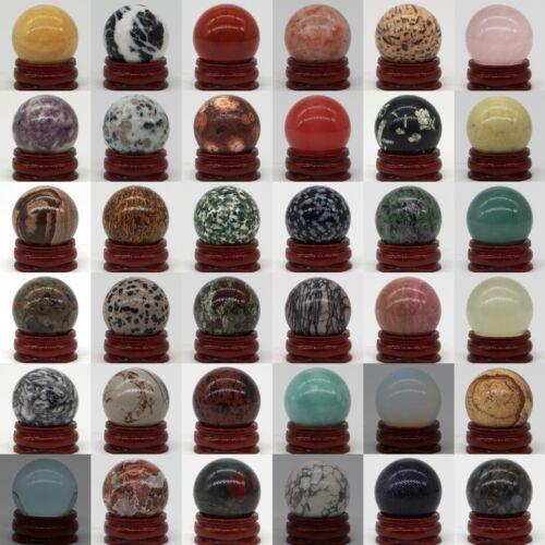 30MM Wholesale Natural Gemstone Sphere Crystal Reiki Healing Globe Ball / Stand