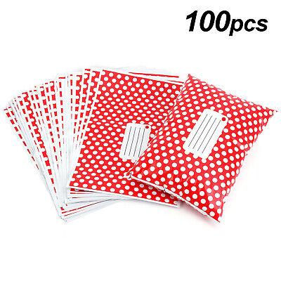 100 Post Postal Plastic Mailing Bag Postage Strong Self Seal 10x14 Red Polka Dot