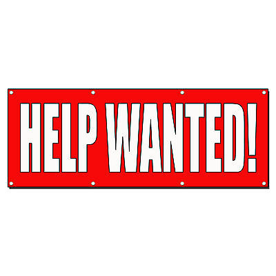Help Wanted Red Banner Sign 2 Ft X 4 Ft W4 Grommets