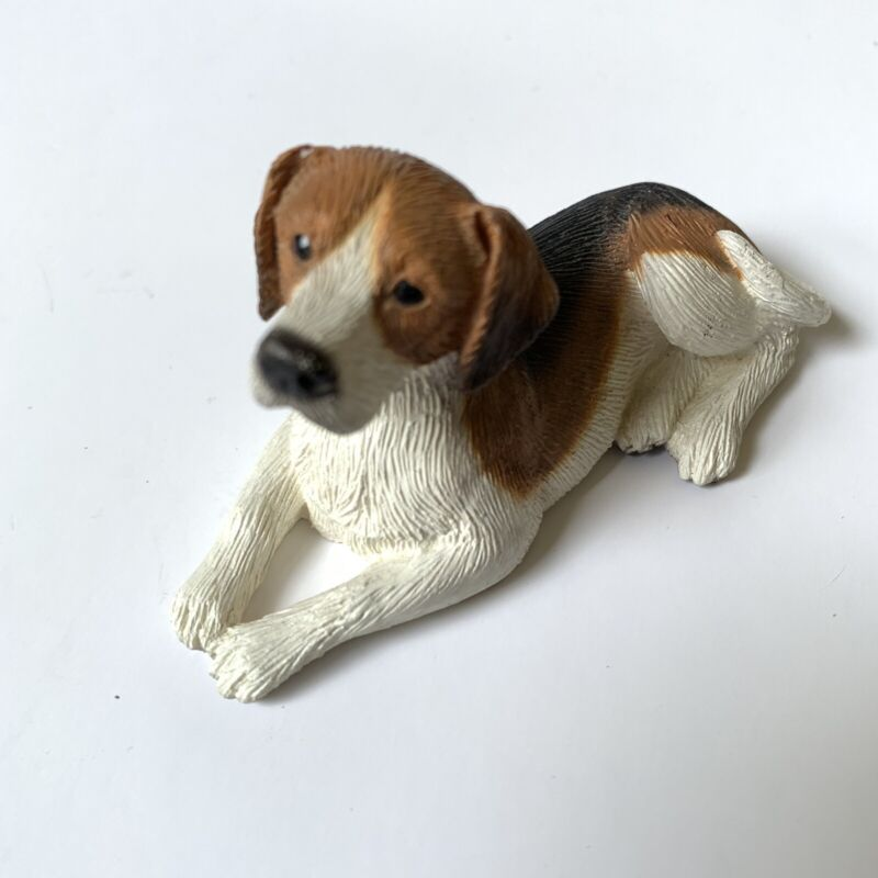 Beagle Painted Resin Figurine Lying Down Tricolor