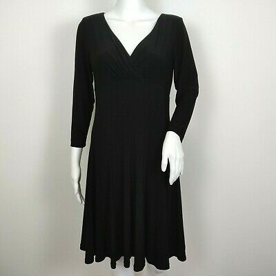 Lauren Ralph Lauren Dress Size 8 Black Surplice V-Neck Stretch Fit Flare Career