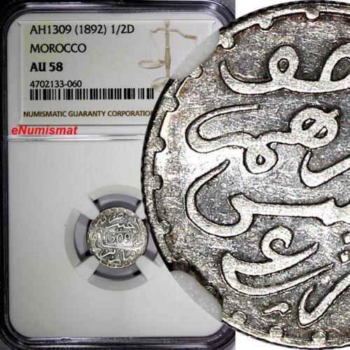 Morocco  Moulay al-Hasan I Silver AH1309 (1892) 1/2 Dirham NGC AU58 Paris Y# 4