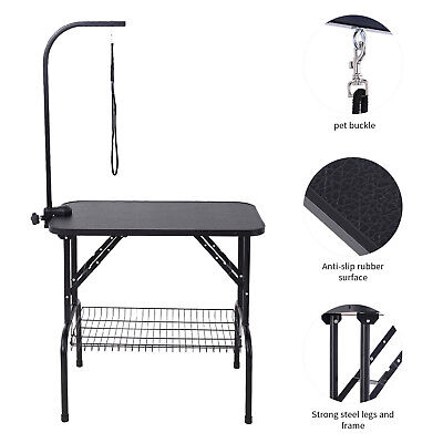 """32"""" Large Pet Grooming Foldable Table Dog Cat Adjustable ARM Noose Mesh Tray"""