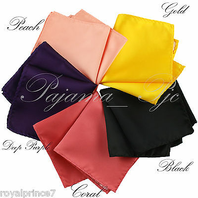 5 colors Hankerchief Pocket Square Hanky 10 inches Coral Black Peach Gold Purple