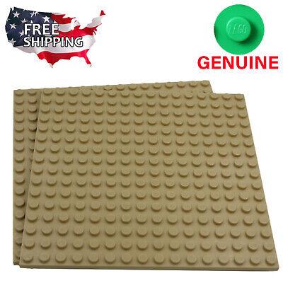 x2 Lego Tan Baseplates Base Plates Brick Building 16 x 16 Dots Tan