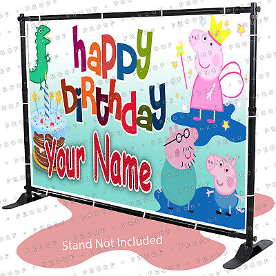 Peppa Pig wall banner decorating Happy Birthday Backdrop ANY NAME model #2 - KID