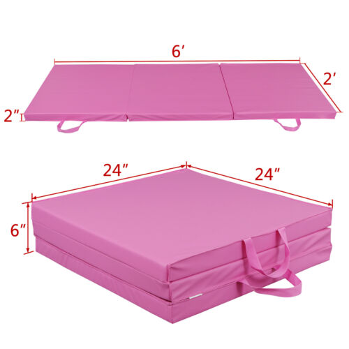Pink PU Leather Gym Mat Fitness Exercise Tri-Fold Tumbling Arts Workout Exercise Mats