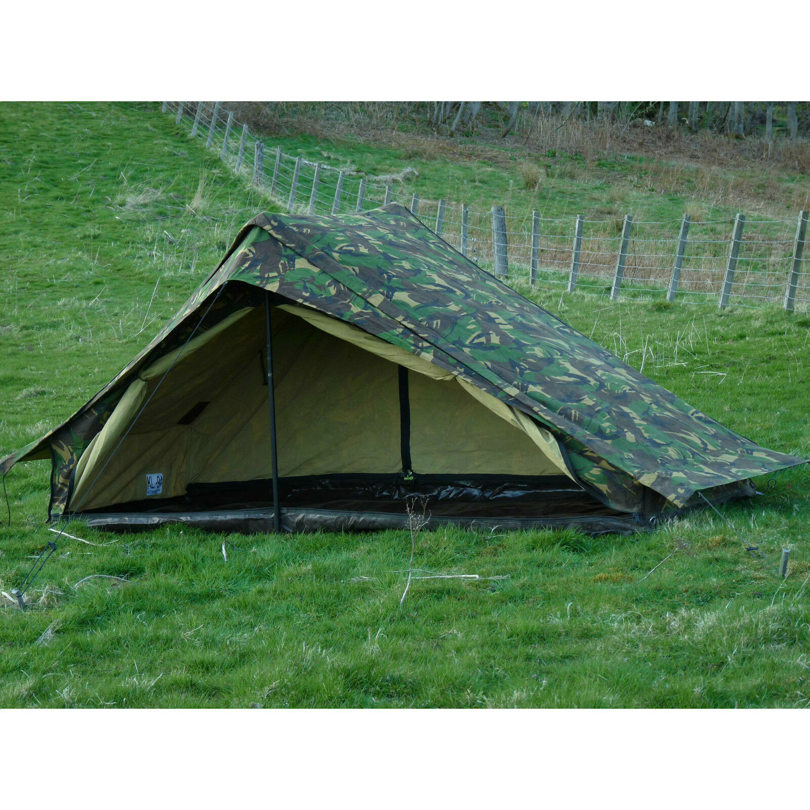 Dutch Army Canvas Tent - Woodland Camouflage One Man Camo Pup 1 Person