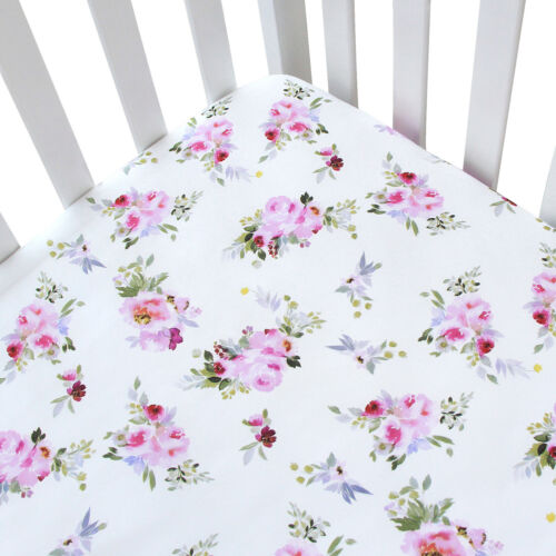 """Standard Crib Mattress Sheets for Baby Soft Fitted Crib Sheet Floral 52""""x28"""""""