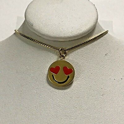Kate Spade Emoji Necklace Tell All Love Struck Heart Eyed  12k GP