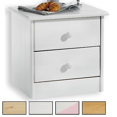 Nachtkommode Nachttisch Kiefer massiv lackiert mit 2 Schubladen in 4 Farben - Kiefer Nachttische