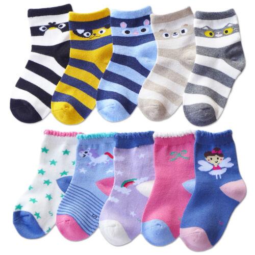 5Pack Cotton Lace Crew Socks Cartoon Animal/Rainbow/Unicorn/Fairy Girls Boys Kid