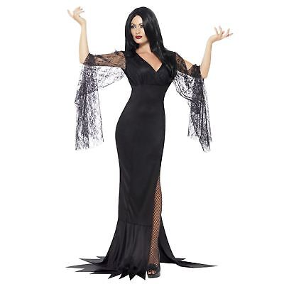 Erwachsene Damen Gothik Morticia Addams Vampirin Immortal Souls Halloween (Morticia Addams Kostüm)