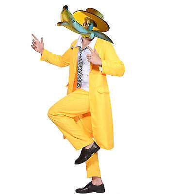Jim Carrey The Mask Fancy Dress Costume Yellow Gangster Zoot Suit Outfit US Ship