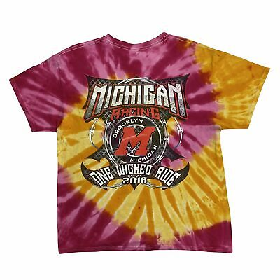 "MICHIGAN RACING ""One Wicked Ride"" Motorsports Tie Dye T-Shirt Large Pink Yellow"