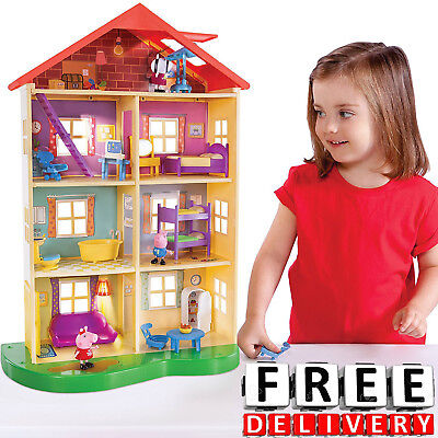 Girl Doll House Peppa Pig Family Playset Light Sound Girl Boy Toy Furniture New ()