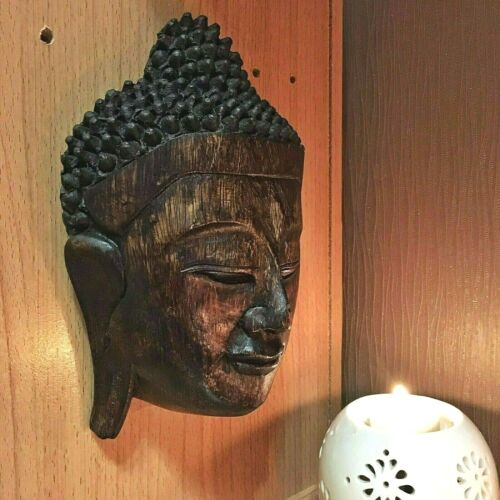 VINTAGE LARGE WOOD CARVED BUDDHA FACE MASK WALL SCULPTURE HOME DECOR OLD ANCIENT