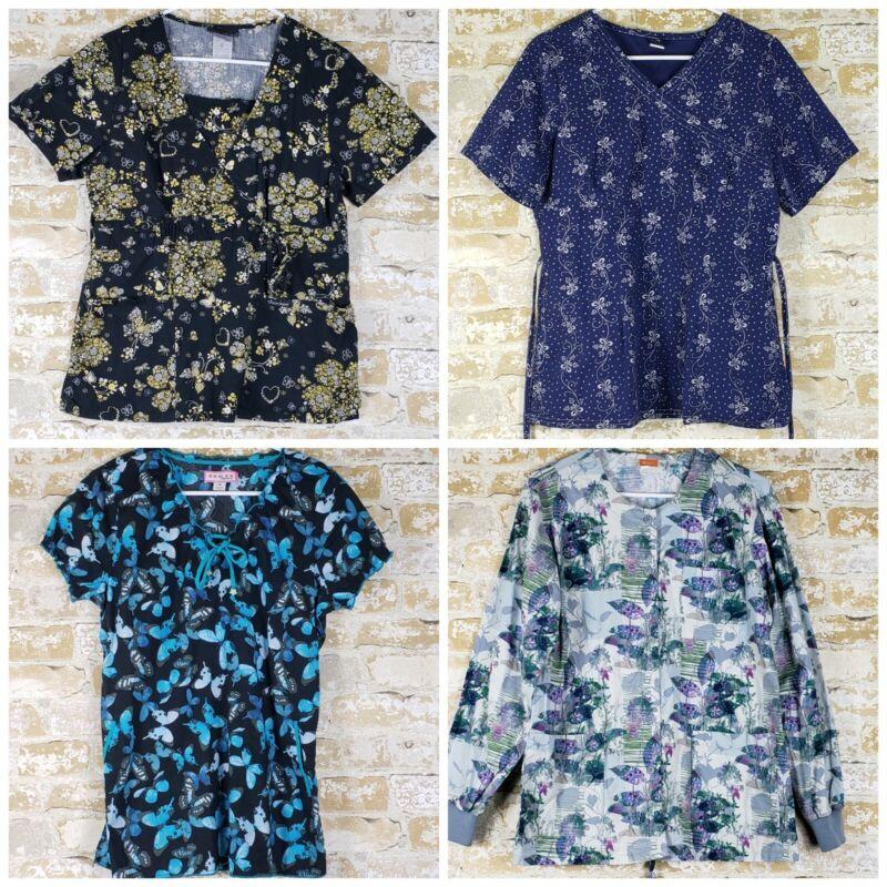 Womens Lot (3) scrub tops (1) scrub jacket M floral Koi Barco Grafx Cherokee
