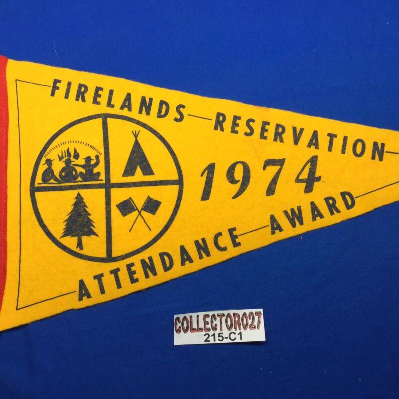Boy Scout 1974 Firelands Reservation Attendance Award Pennant