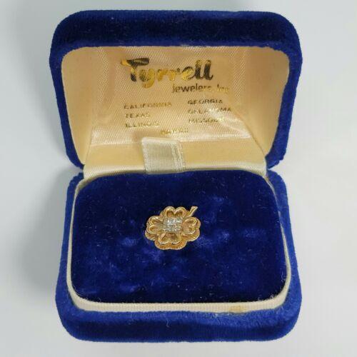Vintage Tyrrell Jewelers 10K Gold Diamond 4 Leaf Clover Tie Pin Tack w/ Box